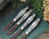 Silverplate Godinger Nutcracker Cheese Spreaders Set of 4, Boxed Gift, Christmas, Holiday, Collectable, Holiday Decor