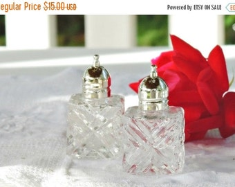 On Sale Kent Silversmith Cut Crystal Demitasse Salt and Pepper Shakers, Table Settings for Weddings, Small Shakers