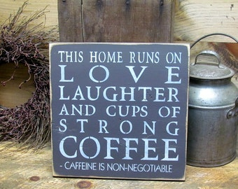 Funny Coffee sign, Wooden Sign Coffee, Home sign, Housewarming gift, This home runs on love, Family Saying, Wood Sign Saying, Coffee lover