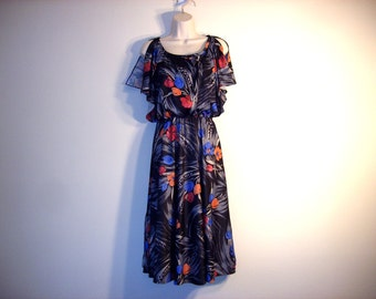 Vintage 1970s Black Floral Sun Dress, Size Small