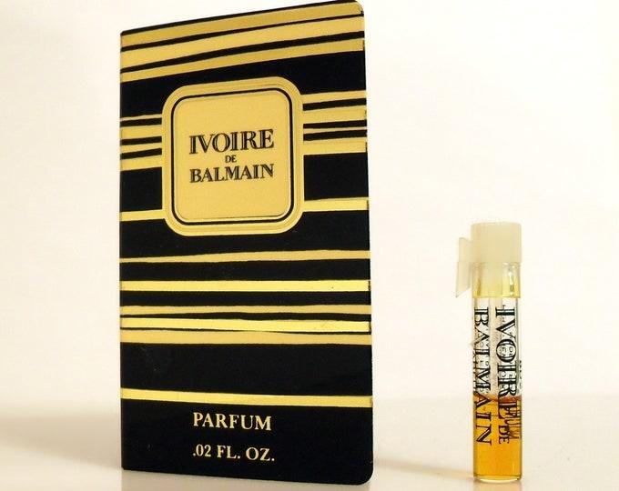 Vintage 1980s Ivoire de Balmain 0.02 oz Pure Parfum Sample Vial on Card PERFUME