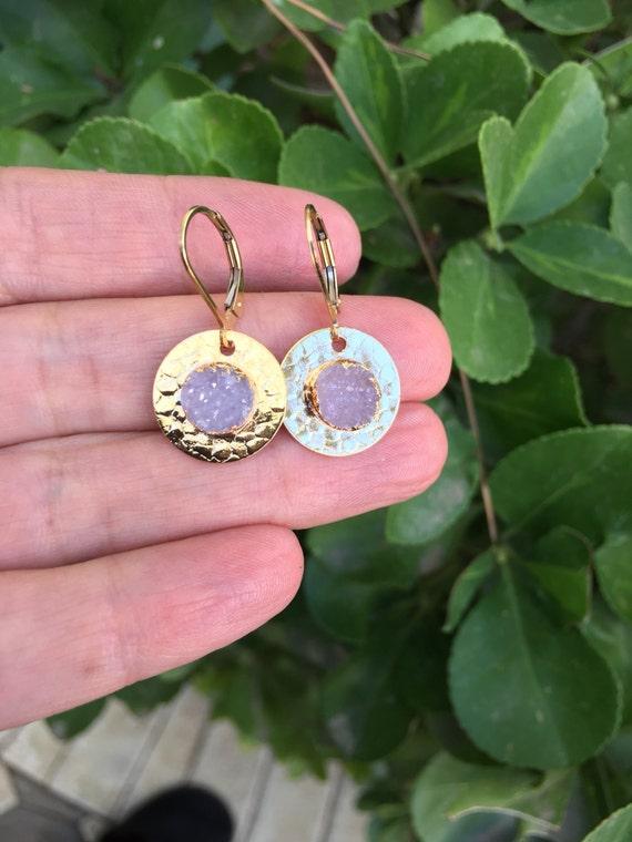 Druzy Earrings, Druzy jewelry, crystal quartz earrings, boho earrings