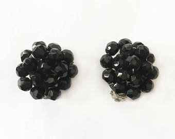 "Vintage Black Cluster Clip on Earrings Signed Made Austria 1.25"" L"