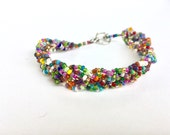Handmade Seed Bead Braided Boho Multicolor Bracelet (037C) - Guatemala