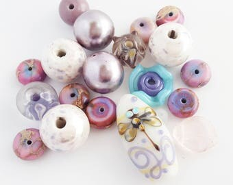 Lavender Beads Mix | Dragonfly Focal | Jewelry DIY Kit | Orphan Beads | Lampwork Glass | Ceramic | Jasper | The Blue Hutch