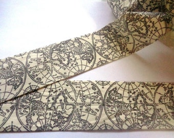 """Canvas Globe Ribbon Trim, Black / Ivory, 2"""" inch wide, 1 yard, For Mixed Media, Gifts, Scrapbook, Home Decor, Accessories"""