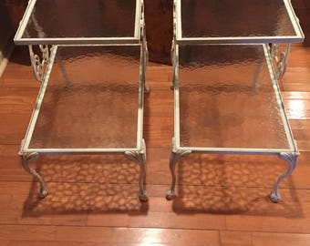 Pair of aluminum side tables