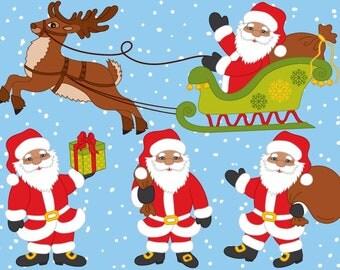 Santa claus clipart | Etsy
