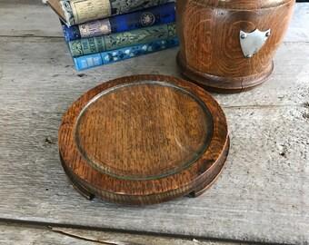 English Oak Hardwood Teapot Caddy, Teapot Stand, Glass Top