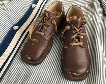 Antique Boys Leather Shoes, Brown Lace Ups, Early 1900s