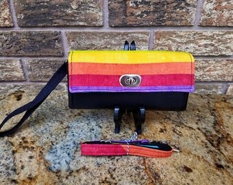 Rainbow Wallet on Black, NCW Wallet,  Clutch Wallet, Phone Wallet, Carry all Wallet