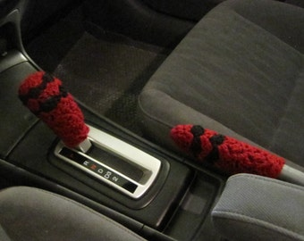 Crochet Set of Gear Shift Knob Cover and Handbrake Holder Cover - burgundy/black (CGSKHH1D)
