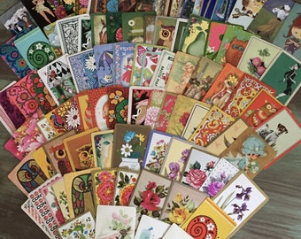 100 Swap Cards / Vintage Playing Cards Mixed Ephemera for Collage, Altered Art, Scrapbooking, Journals / Assorted Playing Cards