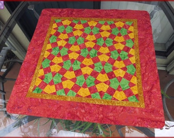 Quilted Table Decor Rose Green Yellow Batik 244