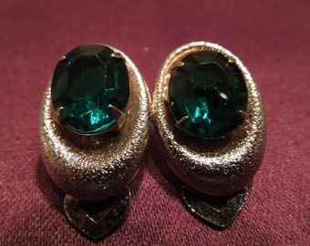 Vintage Clip Earrings, Gold Tone With Green Rhinestone, Nice Condition