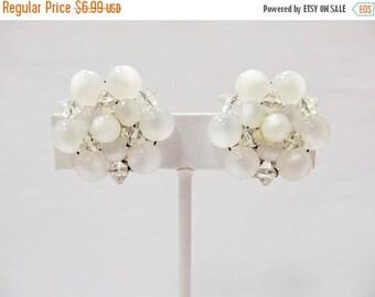 On Sale Vintage Beaded Moonbeam Cluster Earrings Item K # 1764