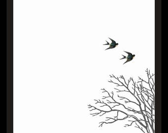 Bare Branches, Flying Swallows Printable Wall Art Print