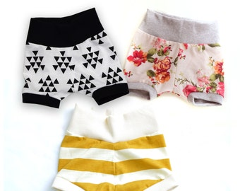 Infant/Toddler Jersey knit Mini Shorts, with ribbed Waistband and Leg Cuffs NEW PRINTS!