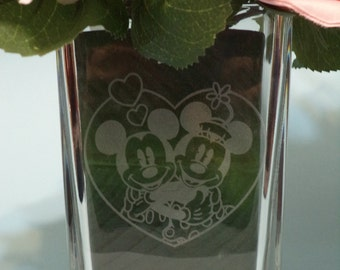 Etched Mickey & Minnie in Love Vase