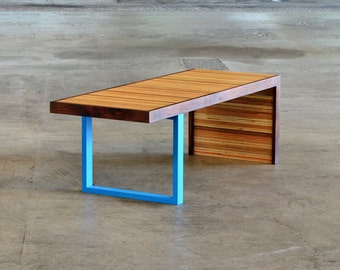 Waterfall Bench Modern Patterned Edge Grain Reclaimed Wood Bench With Colored Leg