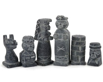 Hand Carved Soapstone Chess Set Egyptians versus Romans with Chess Board/Storage Box