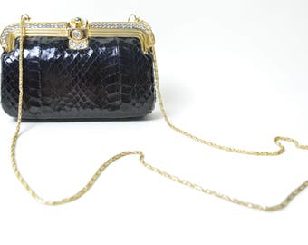 Vintage 1980s Snakeskin Clutch 80s Evening Bag Box Purse