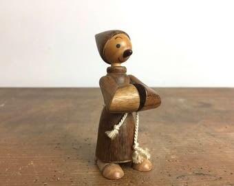 Mid Century Modern Wooden Monk or Priest, Hans Bolling Era, Danish Modern style, wooden figurine