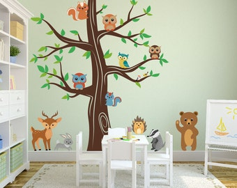 Nursery Woodland Animals Wall Kids Decal Forest with Bear Deer Rabbit Porcupine Birds Owls Squirrels and Badger Sticker Removable #1337