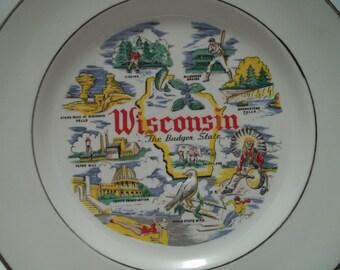 Vintage 1950's Wisconsin Souvenir Plate