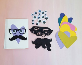 valentine 'stache kit – makes 10 mix & match diy cards for school or just for fun, now featuring recycled eco-white cardstock!