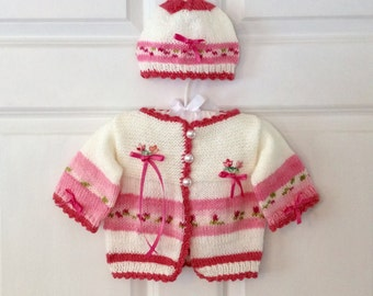 So Sweet Pink and White Baby Girl Garden Cardigan Sweater with Antique Appliqué and Hat Set