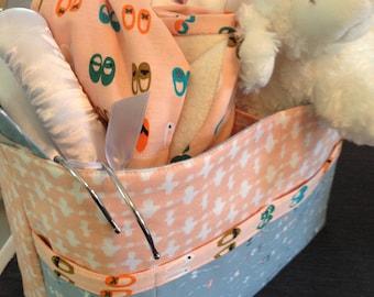 Large DIVIDED Basket for Baby's Room, Large Divided Basket for Knitting, Large Divided Basket with exterior pocket PRE-ORDER