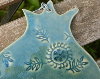 Ceramic Blue Pomegranate With Leaves , Pomegranate Wall Hanging, Housewarming Gift, Wedding gift