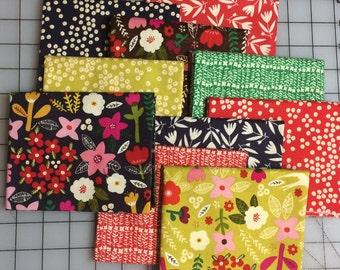 Organic Cotton Petit Fleur- by Carolyn Gavin Fat Quarter Bundle 10 pieces  #48