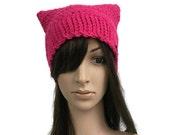 Pink Pussycat Hat, Pink Cat Hat, Dark Pink Hat, Cat Ears Hat, Cat Ear Beanie, Crochet Hat, Womens Cat Hat, Womens March Cat Hat