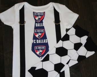 FC Dallas Tie and  Suspenders Onesie or Toddler Shirt  MLS - Soccer baby- add leg warmers