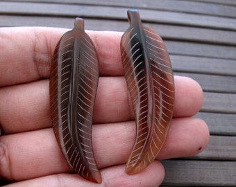 Pair of Beautiful Leaves, Brown,  Buffalo horn carving , focal pendant   Jewelry making supplies B6465