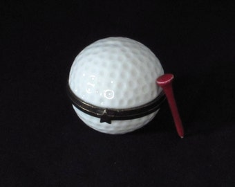 Golf Ball Trinket Box with Tee - Small Container - Flat Bottom Figurine - Sports Enthusist Gift - Vintage Home Man Cave Decor