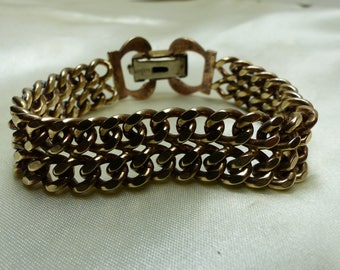 "Bergere Double Curb Link Charm Bracelet- 40 grms-7"" long- 15mm wide. 1923"