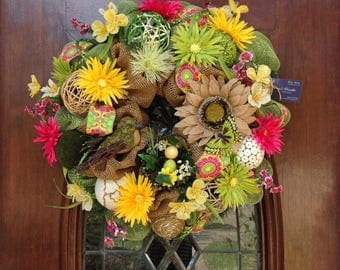 Colorful Burlap and Mesh Wreath with Bird and Birdsnest