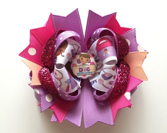 SALE! Ready To Ship Hairbow! Doc Mcstuffins Hairbow, Pink and Purple Doc Mcstuffins Boutique Hairbow, Princess Hairbow, Girls Hairbow
