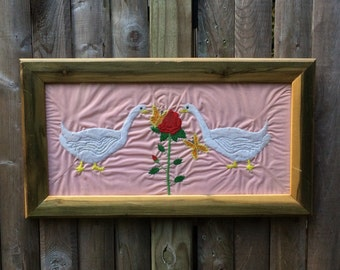 Framed Geese And Rose Embroidery