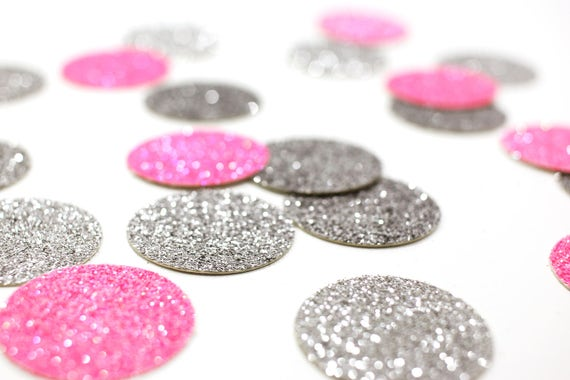 """Neon Pink + Silver Glitter Circle Confetti - 1"""" - Wedding. Bachelorette Party. Bridal Shower. Baby Shower. Engagement. First Birthday."""