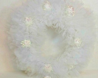 "Handmade Tulle Wreath: Wedding, Winter Wonderland, Christmas, 16.5"""