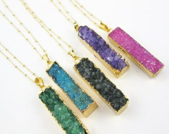 Druzy Gem Bar Pendant Necklace - Druzzy Agate Long Bar and Gold Necklace - Gold plated Sterling Silver Beaded Necklace Chain - SKU: 692103