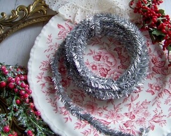 Glittered Wire Garland, Silver Glitter Garland, Glitter Garland, Silver Garland, Holiday Garland, Metallic Garland, Holiday Decorations