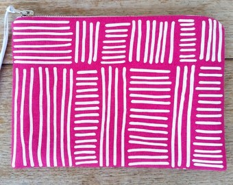 Line Weave pouch - white on bright pink - screen printed and handmade