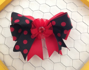 Red and Black Polka Dot Hairbow