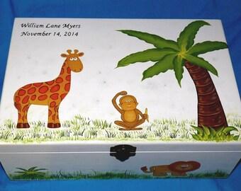 Custom Baby Keepsake Memory Box Personalized Hand Painted Large Jungle Box Baby Boy Nursery New Born Baby Shower Gift New Mom Elephant