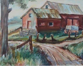 Barn Painting, Original Watercolor, sold unframed.